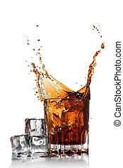 cubes, isolé, glace, verre, éclaboussure, blanc, kola