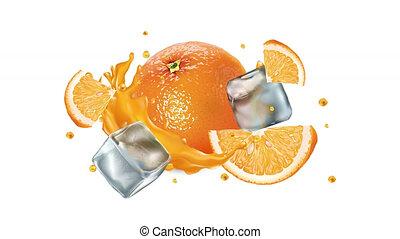 cubes, jus, glace, orange, channel., alpha