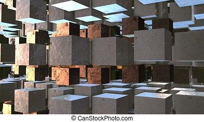 cubes, métallique