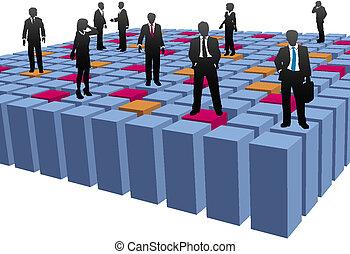 cubes, professionnels, compagnie, équipe travail, résumé