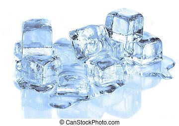 cubes, réflecteur, fondre, surface, frais, glace, blanc