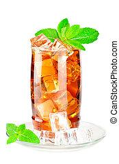 cubes, thé glacé, glace, verre, menthe