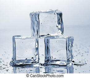 cubes, trois, glace