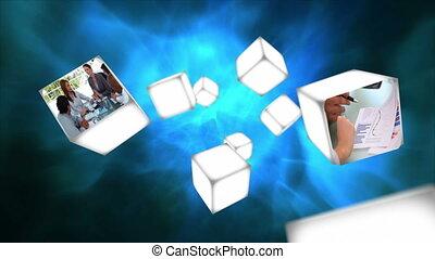 cubes, vidéo, flotter, business