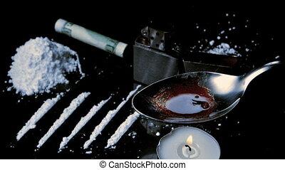 cuillère, drogues, lignes, cuisine