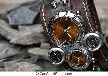 cuir, bracelet, plusieurs, cadrans, montres