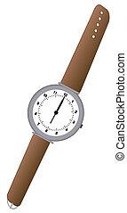 cuir, brun, montre, analogue, bande