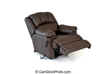 cuir, chaise brune, reposer
