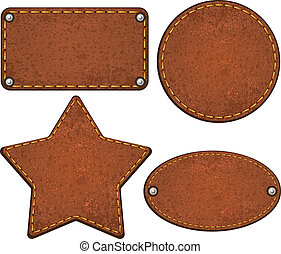 cuir, ensemble, vecteur, labels., illustration