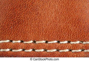 cuir, macro, stiching