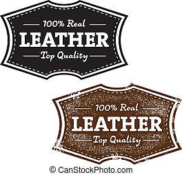 cuir, vendange, 100%, produit, timbre