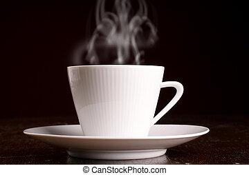 cuire vapeur, café chaud, tasse