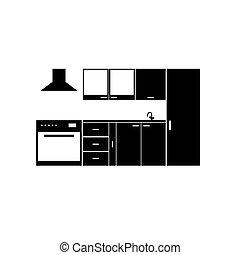 cuisine, élément, illustration, meubles