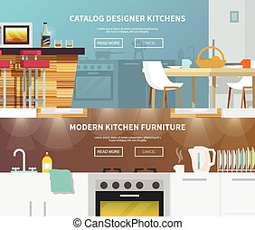 cuisine, bannière, meubles
