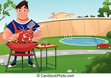 cuisine, barbecue, homme