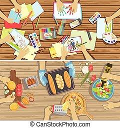 cuisine, deux, visible, seulement, métier, au-dessus, mains, illustrations, table, leçon, enfants