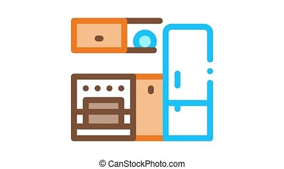 cuisine, frigidaire, icône, animation
