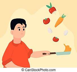 cuisine, homme, légumes