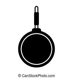 cuisine, icône, friture, outillage, illustration, vecteur, noir, cuisine, moule, isolé