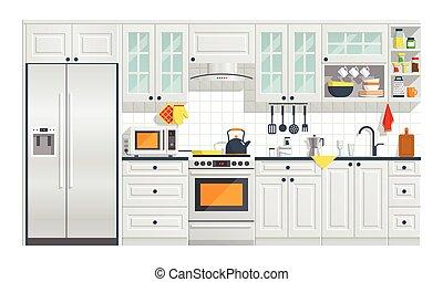 cuisine, illustration., appareils, meubles
