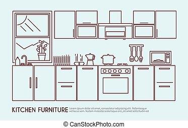 cuisine, illustration, meubles