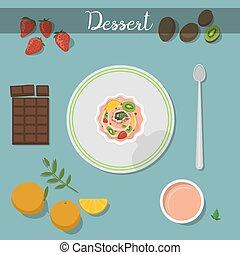 cuisine, illustration., plaque, nourriture, dessert, sain, vecteur, fait maison, doux, gâteau, sauce framboise, ingrédient
