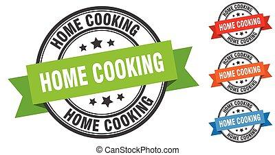 cuisine maison, bande, set., signe, étiquette, stamp., rond