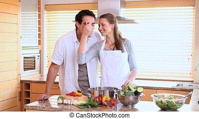 cuisine, mari, sien, cuillère, dégustation, wife's