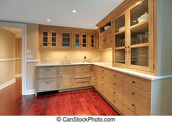 cuisine, naturel, luxe, sous-sol