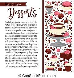 cuisine, page, gabarit, livre, douceur, vecteur, gâteau, chocolat, recette