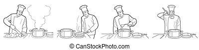cuisine, processus, noir, intérieur, fond, chef cuistot, table, vecteur, figures, large, cuisine, illustration., restaurant, blanc