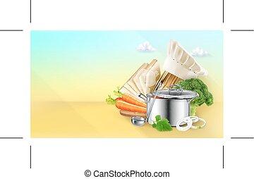 cuisine, vecteur, fond