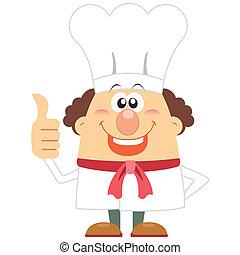 cuisinier, blanc, dessin animé, fond