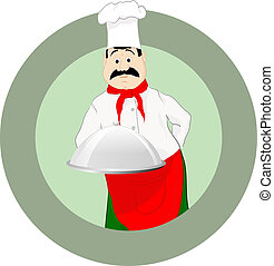 cuisinier, casquette, plateau
