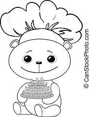 cuisinier, contour, gâteau, ours, teddy