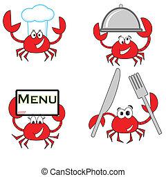 cuisinier, crabe