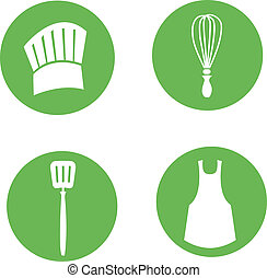 cuisinier, ensemble, cuisine, icône