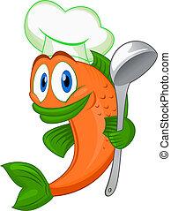 cuisinier, fish, dessin animé