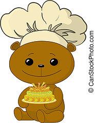 cuisinier, gâteau, ours, teddy