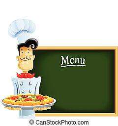 cuisinier, menu, pizza