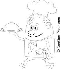 cuisinier, plateau, contour