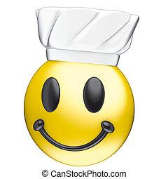 cuisinier, sourire, figure, toque