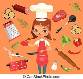 cuisinier, time., cuisine, caractère, girl