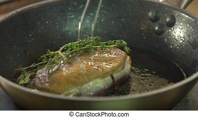 cuisiniers, viande, chef cuistot, friture, assaisonnements, moule