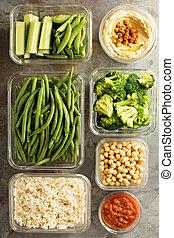 cuit, riz, préparation, vegan, repas