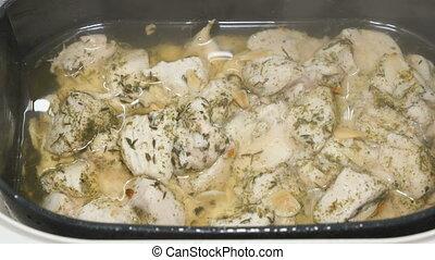 cuit, vapeur, poulet, morceaux
