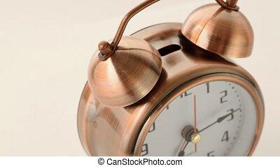 cuivre, appelle, horloge, reveil, cercle, tourne