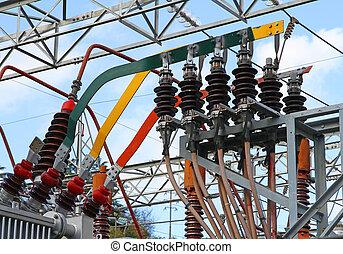 cuivre, barres, puissance, électricité, grand, transformateur, élevé, connexion, produire, électrique, tension, plante