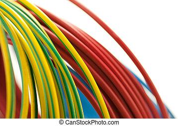 cuivre, bleu, 3, sur, isolé, jaune, couleurs, arrière-plan vert, blanc, câbles, rouges