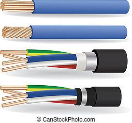 cuivre, câbles, électrique